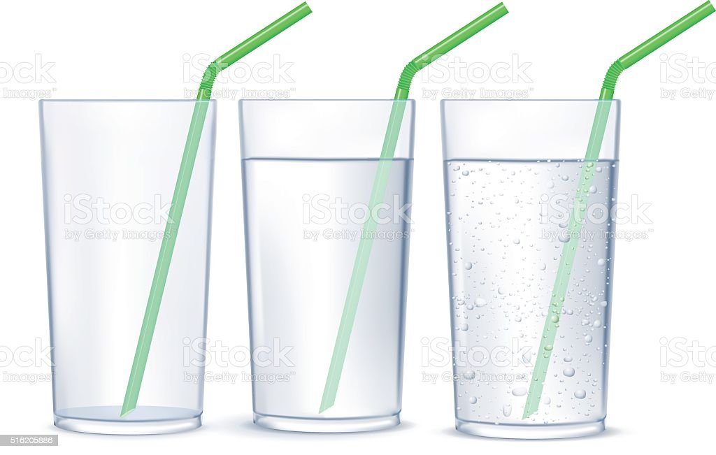 Glass of water with drinking straw. Glass of sparkling water vector art illustration