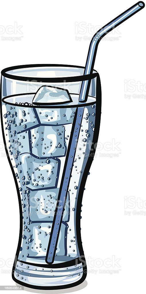 glass of water with ice royalty-free stock vector art