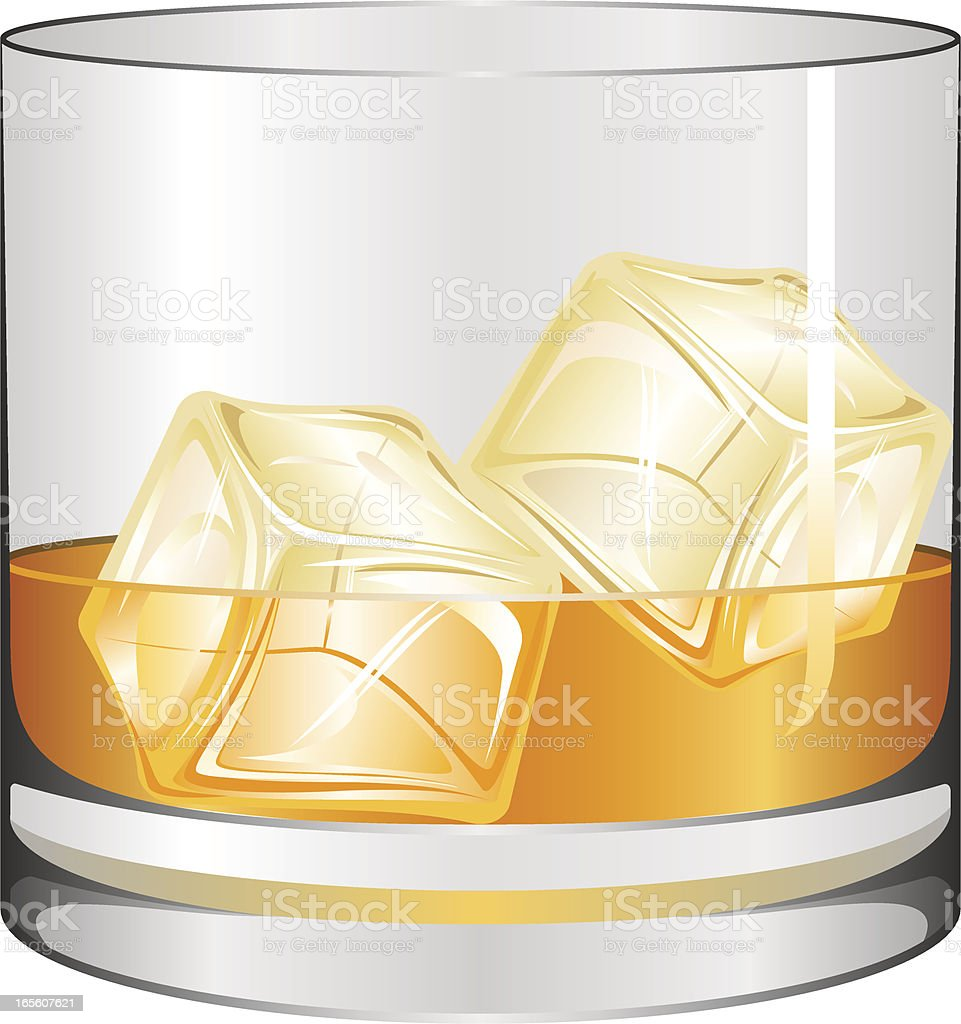 Glass of whiskey vector art illustration