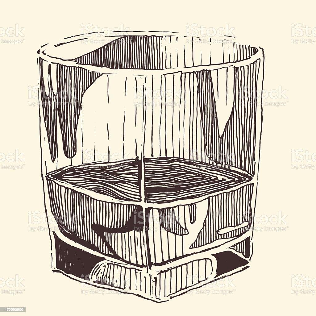 glass of whiskey vintage illustration, engraved retro style, hand drawn vector art illustration