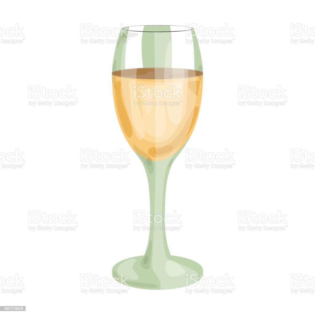 Glass of white wine icon in cartoon style isolated on white background. Wine production symbol stock vector illustration. vector art illustration