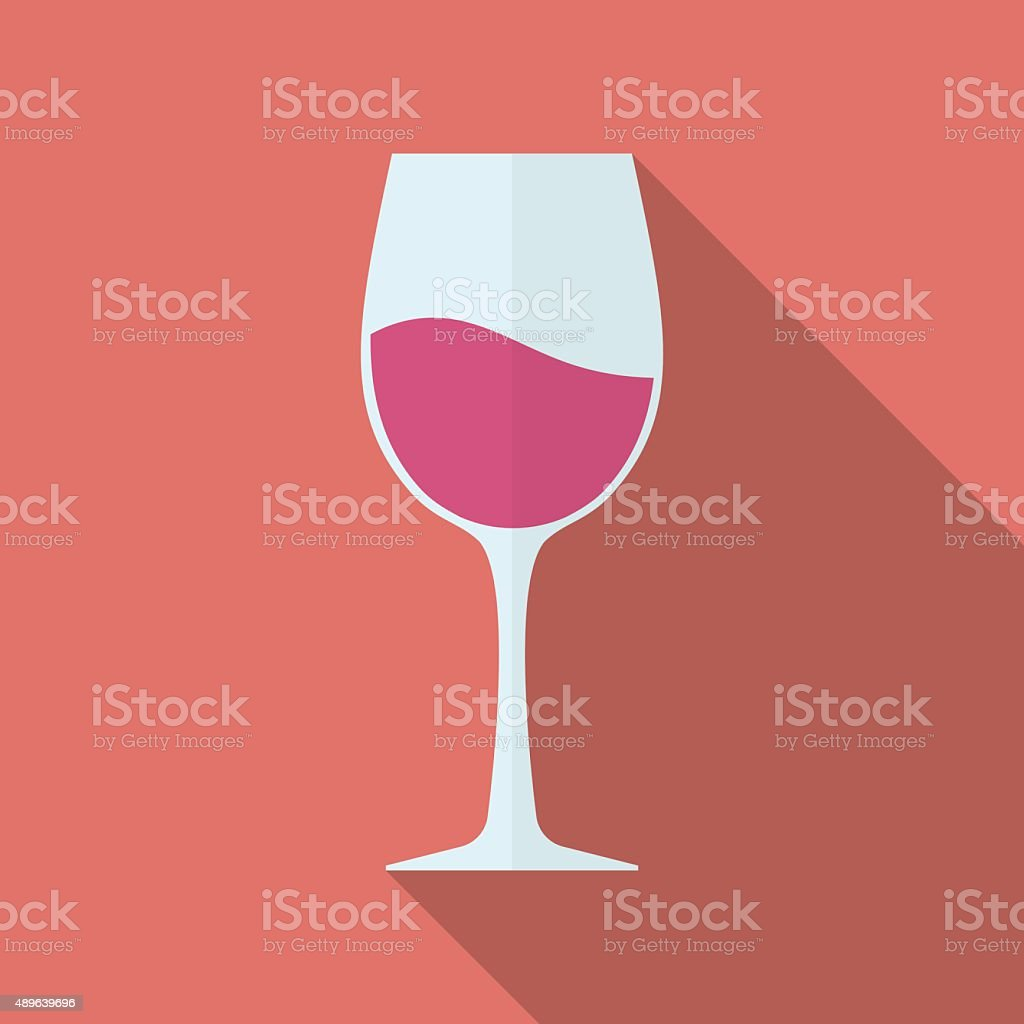 Glass of wine vector icon. Flat style vector art illustration