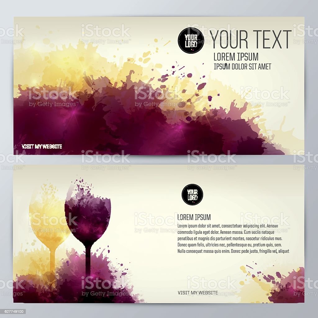 Glass of wine with background of wine stains vector art illustration