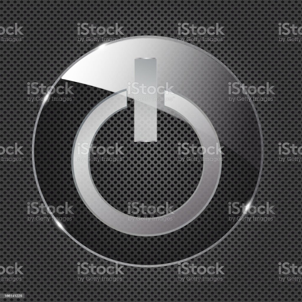 Glass power button icon on metal background. Vector illustration royalty-free stock vector art