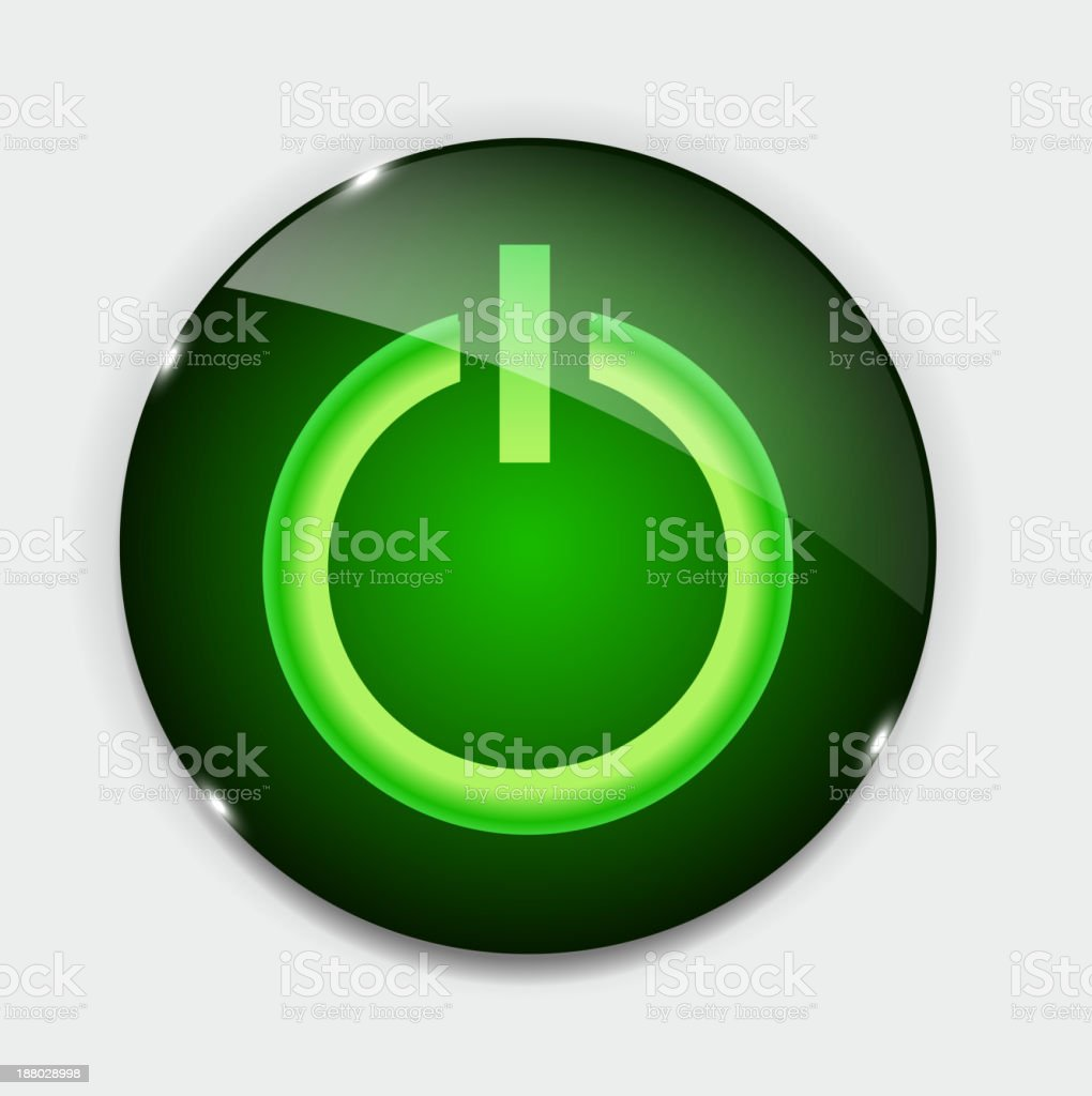 Glass power button icon . Vector illustration royalty-free stock vector art
