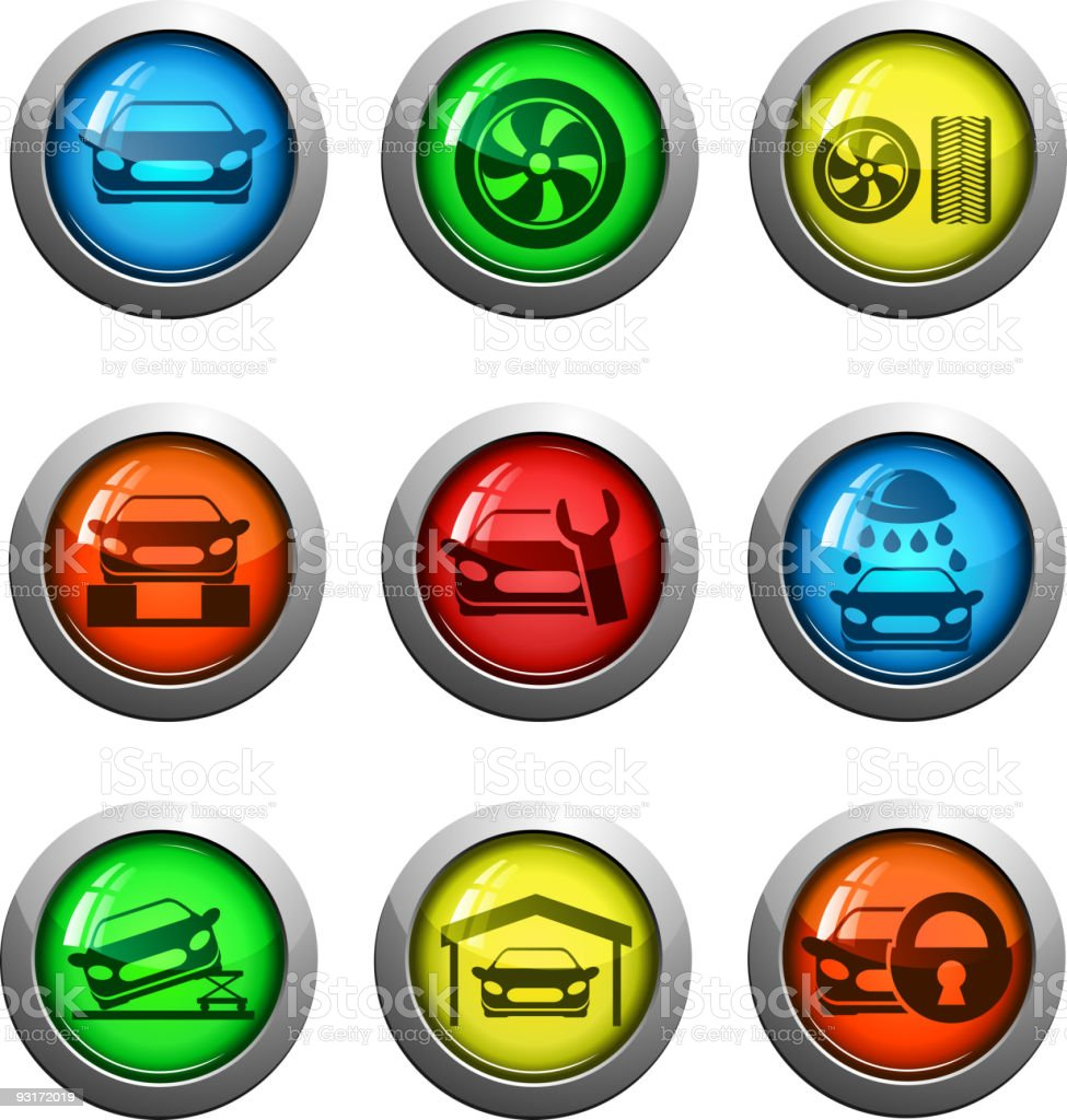 glass round car services icon set royalty-free stock vector art