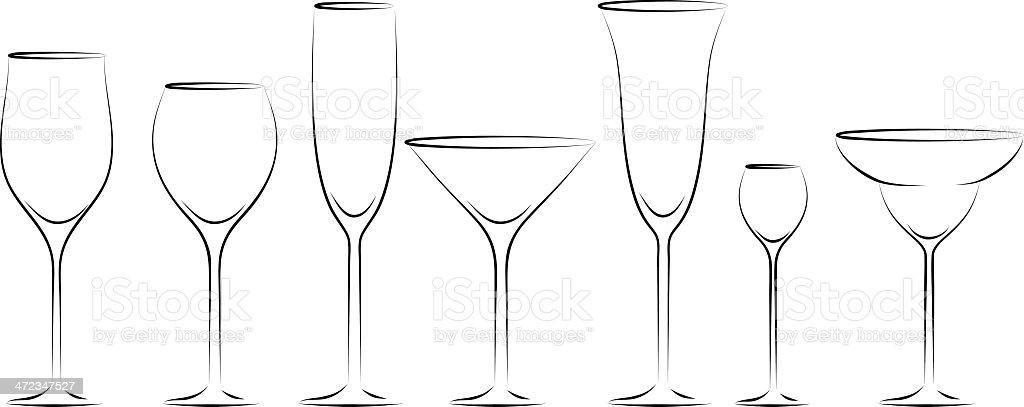 Glass set vector art illustration