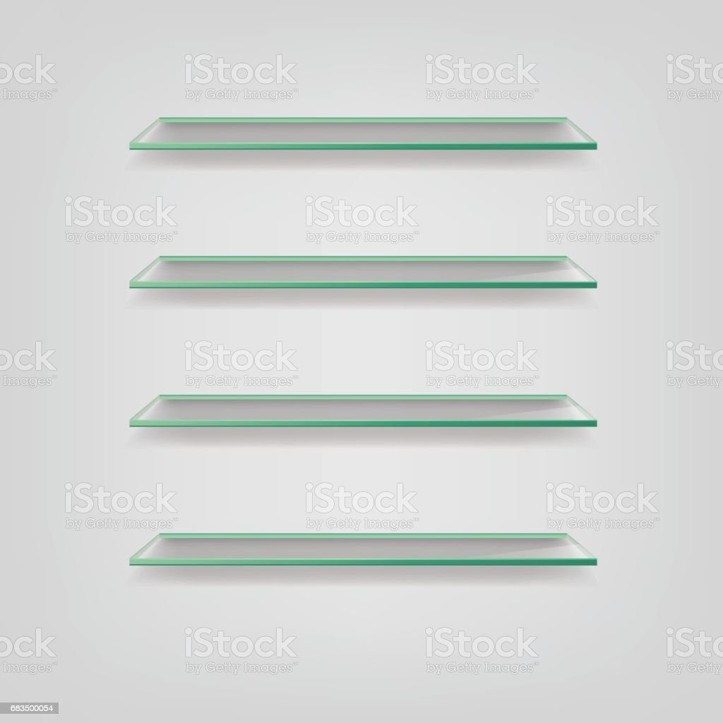 Glass shelves isolated on grey background. Vector illustration. vector art illustration
