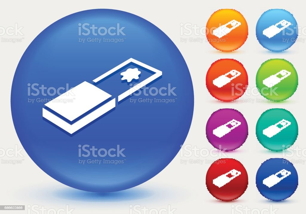 Glass Slide Icon on Shiny Color Circle Buttons vector art illustration