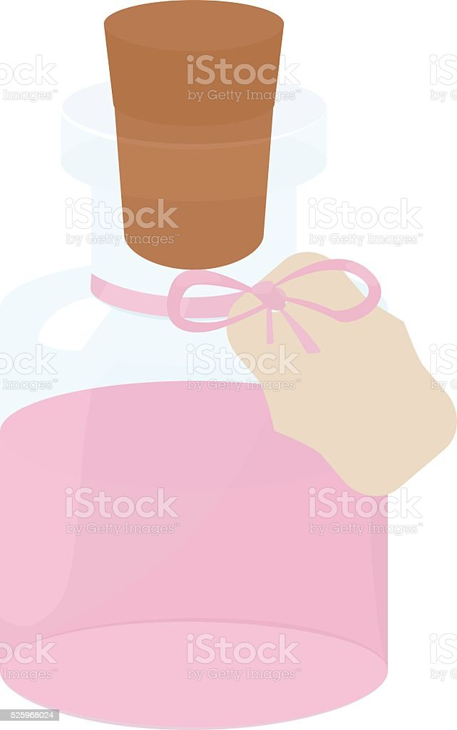 Glass small Bottle  with pink water and tag wood cork vector art illustration
