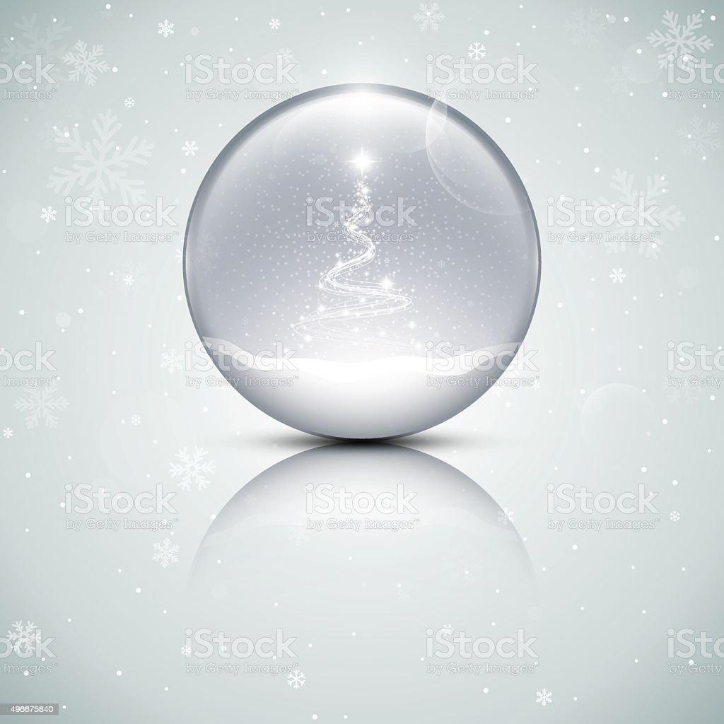 Glass snow globe vector art illustration