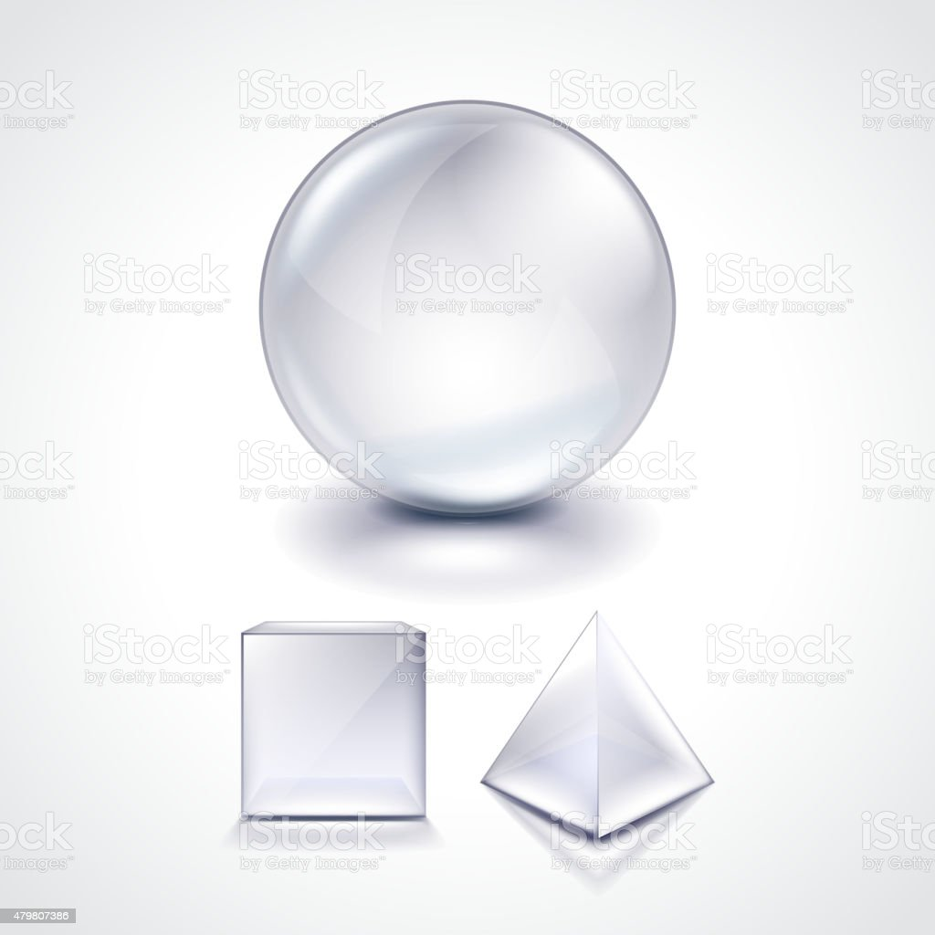 Glass sphere, cube and pyramid vector illustration vector art illustration