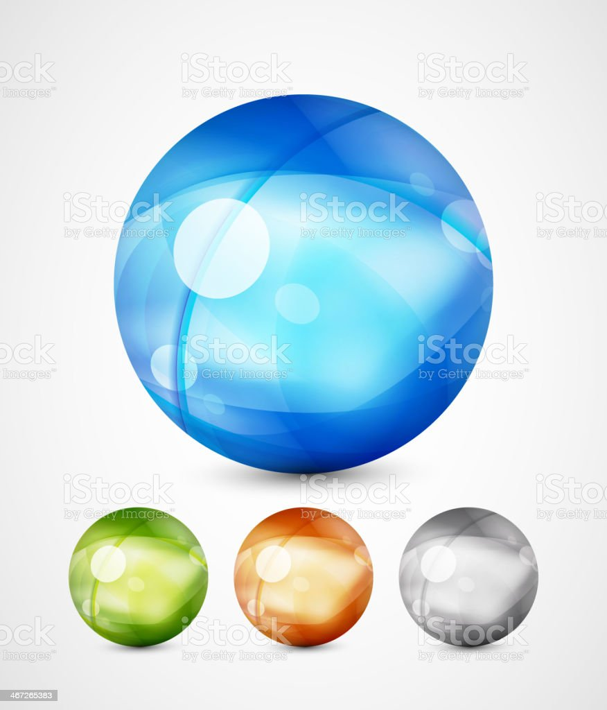 Glass sphere icons royalty-free stock vector art