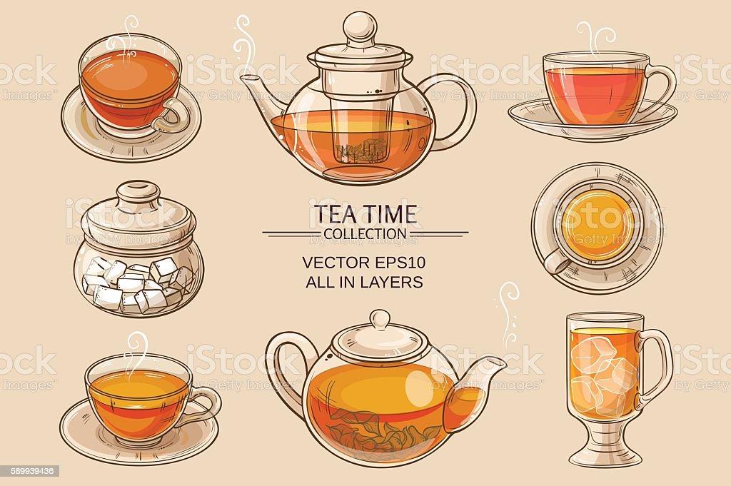 glass tea set color vector art illustration