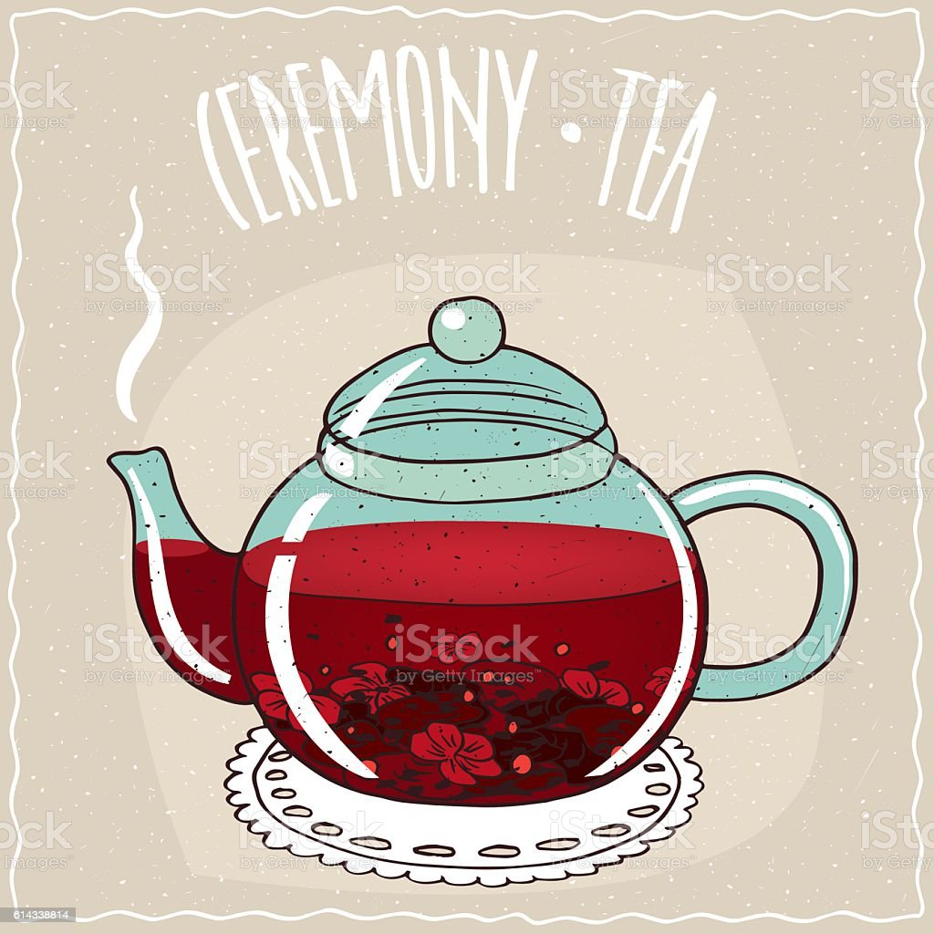 Glass teapot with hibiscus tea vector art illustration