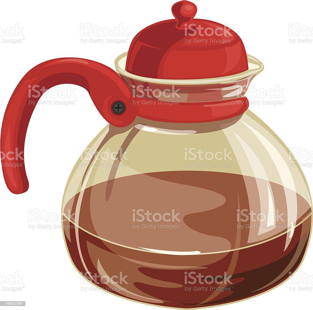 Glass teapot with tea royalty-free stock vector art