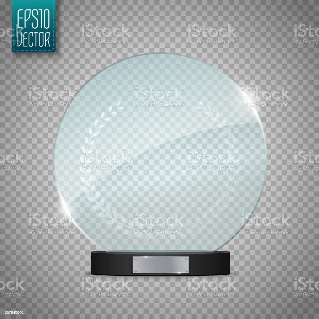 Glass Trophy Award. Vector illustration isolated on transparent background vector art illustration