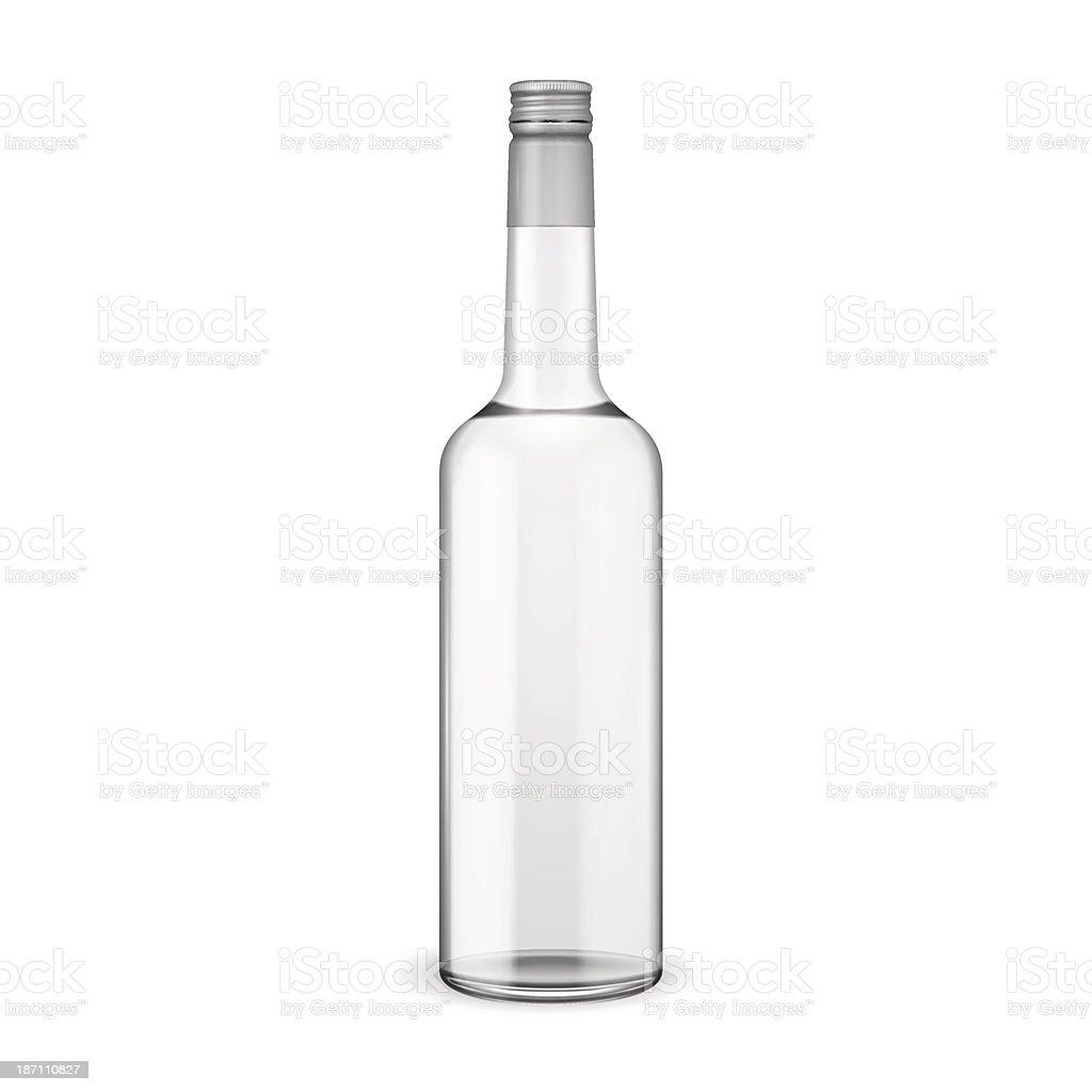 Glass vodka bottle with screw cap. vector art illustration