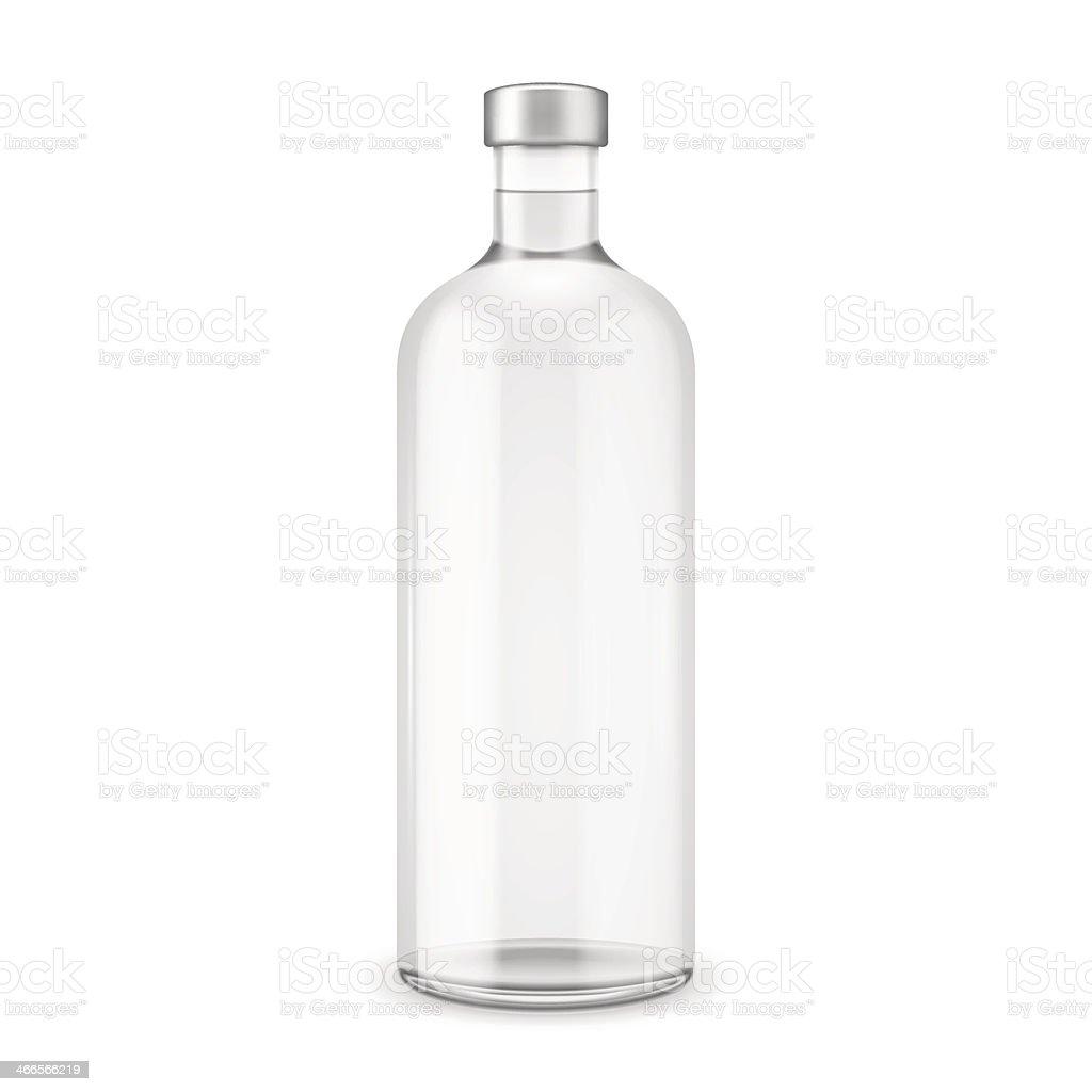 Glass vodka bottle with silver cap. vector art illustration