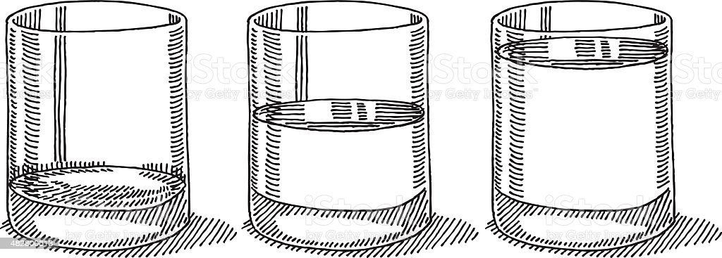 Glass Water Full Half Empty Drawing vector art illustration