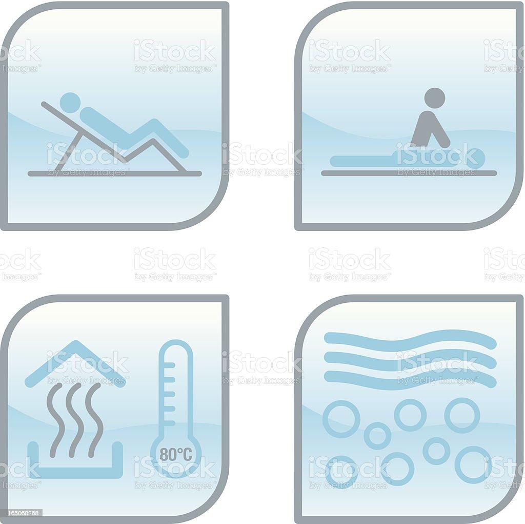 glass wellness icons vector art illustration