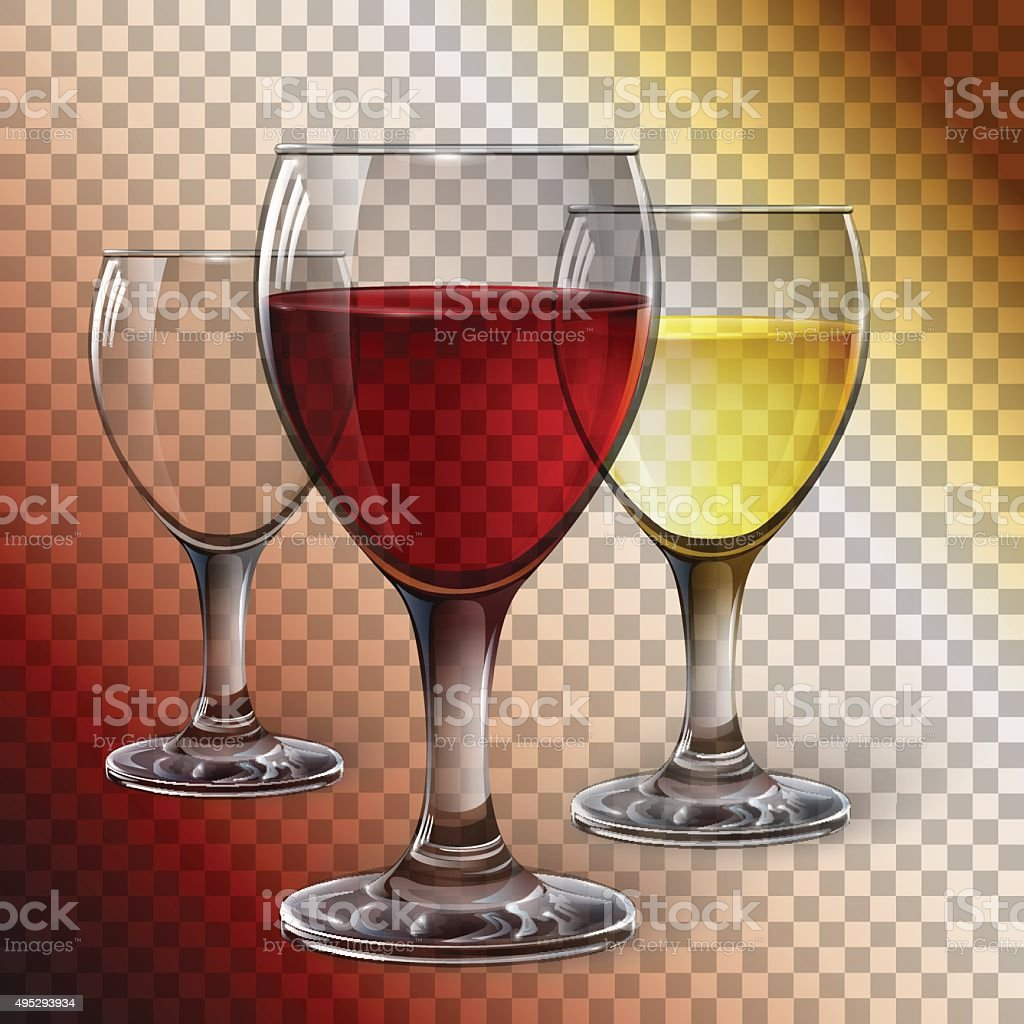 Glass wine glass with red wine, white wine, cider. A realistic, transparent, vector. vector art illustration