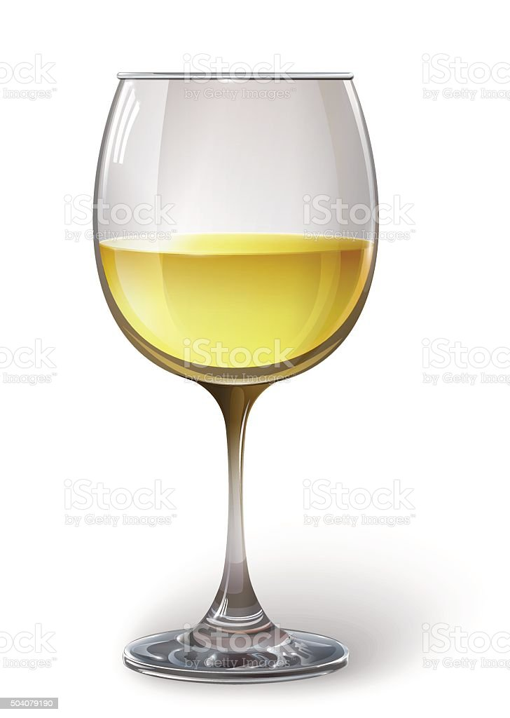 Glass wine glass with white wine. Vector vector art illustration