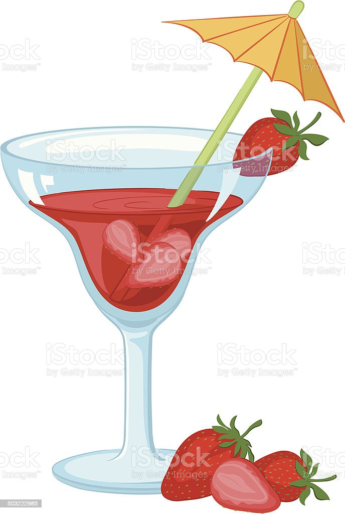 Glass with drink and strawberries vector art illustration