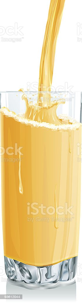 Glass with of orange juice stream and drops royalty-free stock vector art