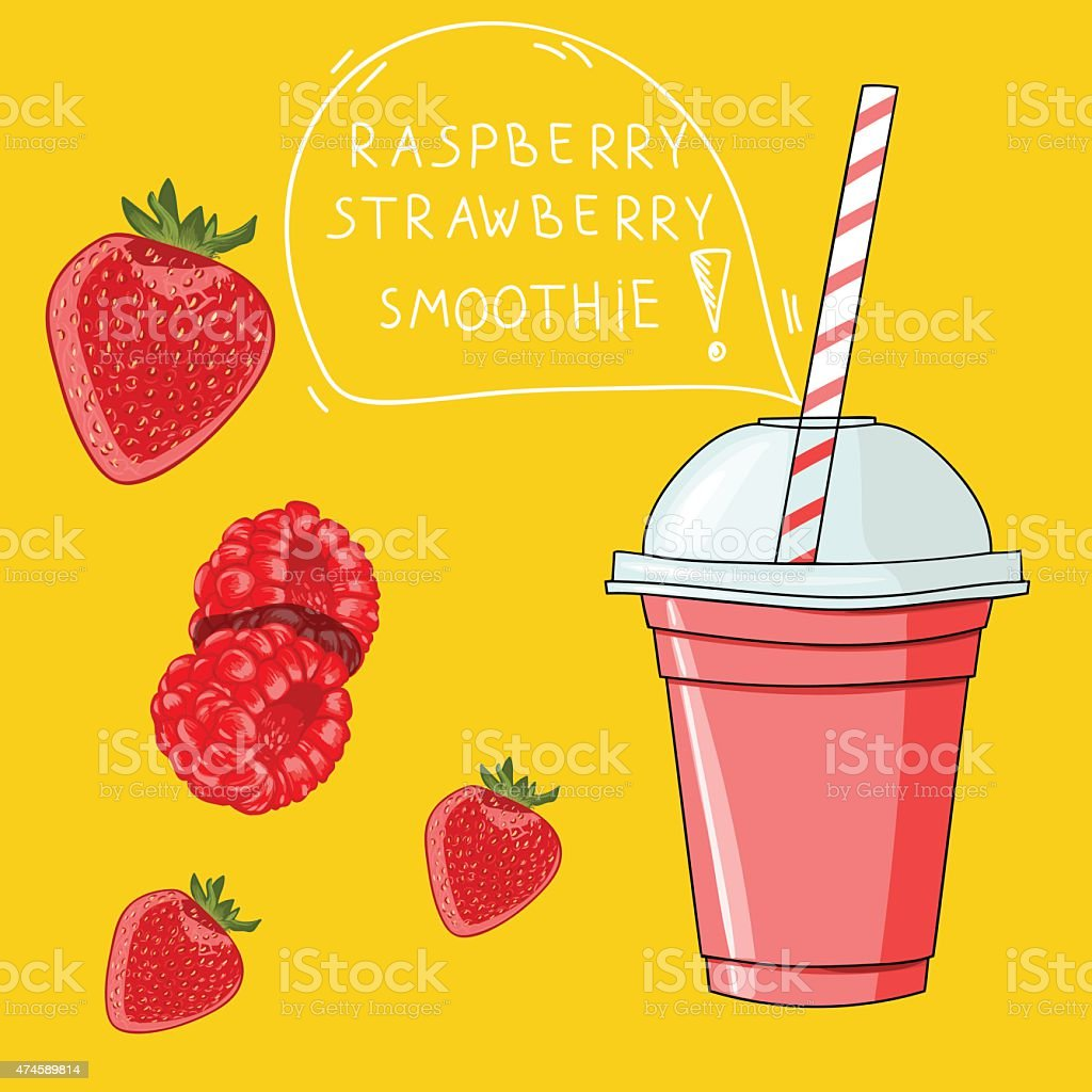 Glass with raspberry strawberry smoothie. Natural bio drink, hea vector art illustration
