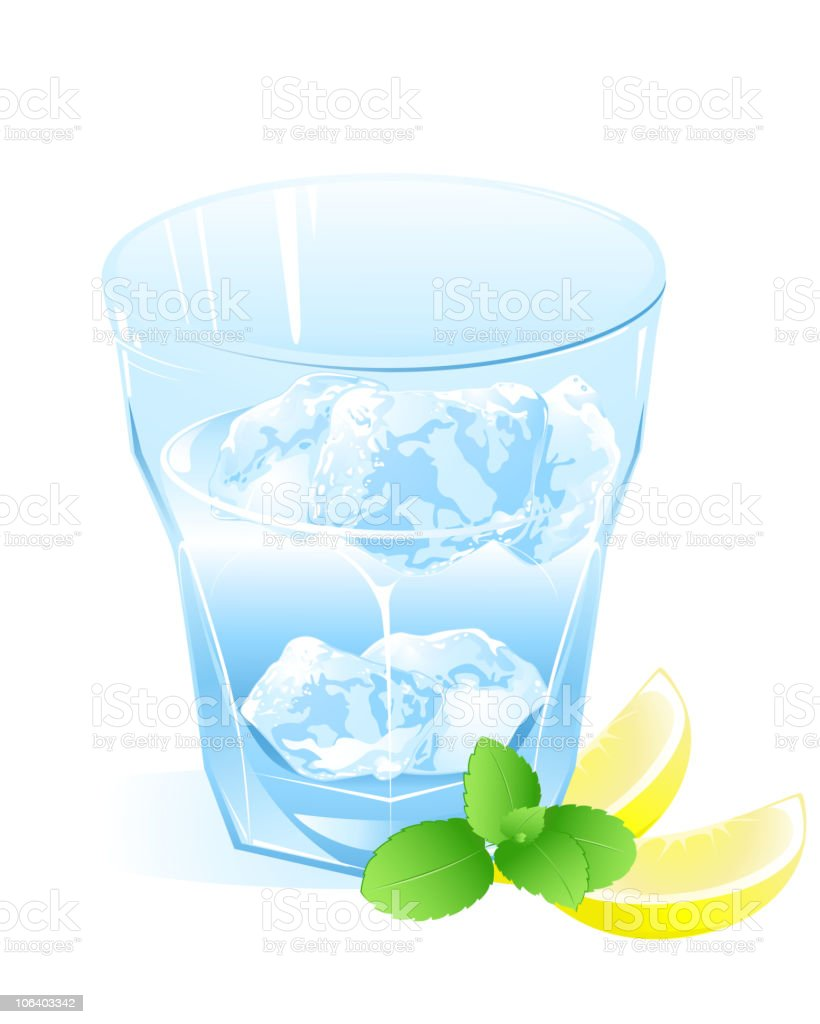 glass with water, lemon and ice royalty-free stock vector art