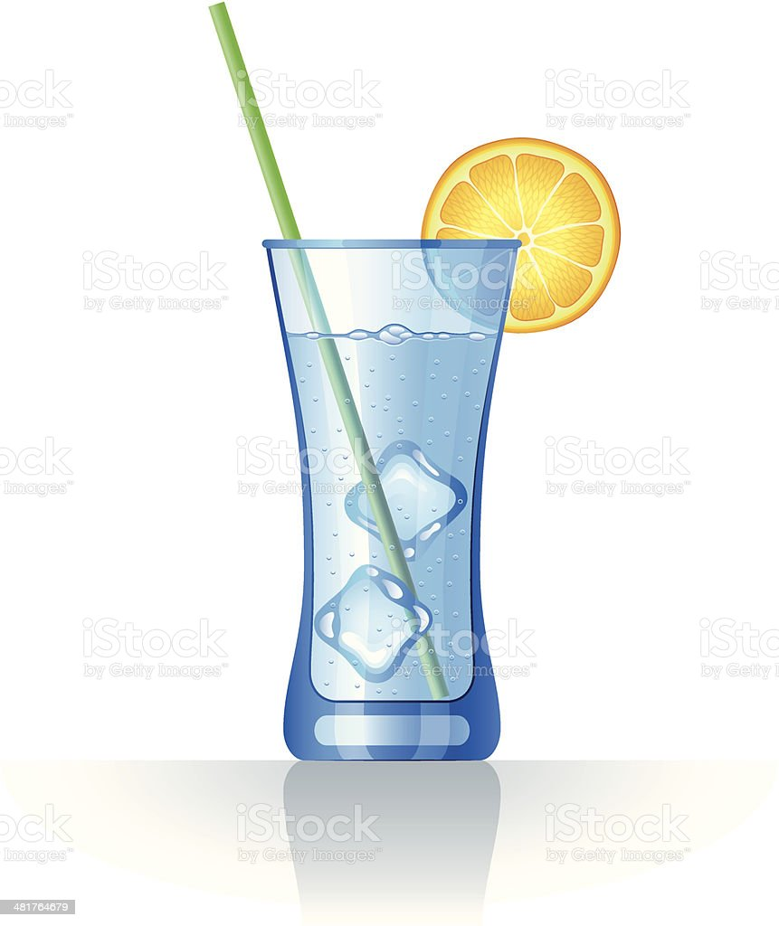 Glass with water vector art illustration
