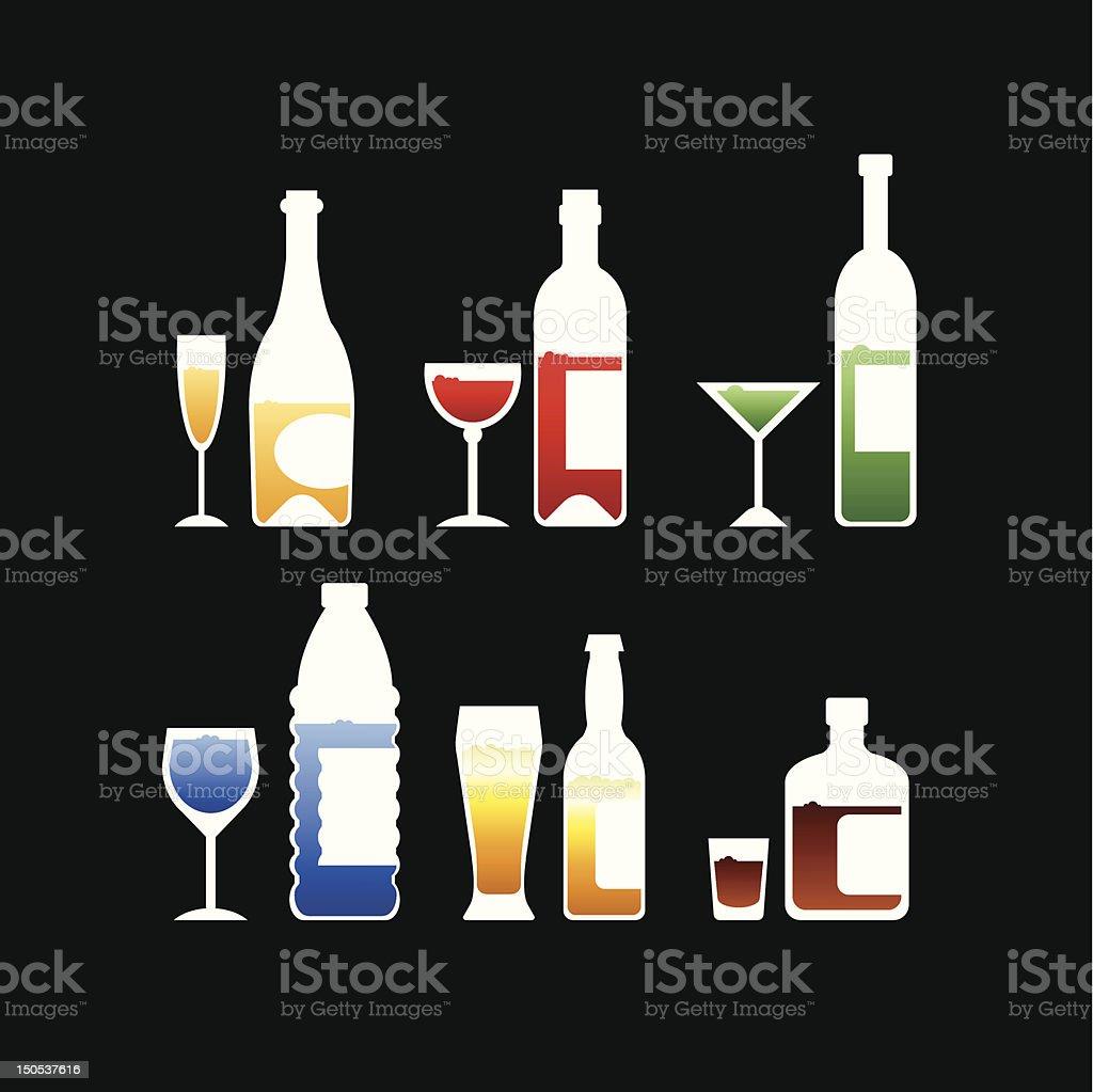 Glasses and Bottles royalty-free stock vector art