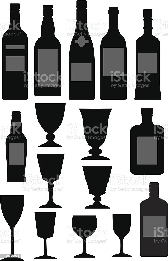Glasses and bottles royalty-free stock vector art