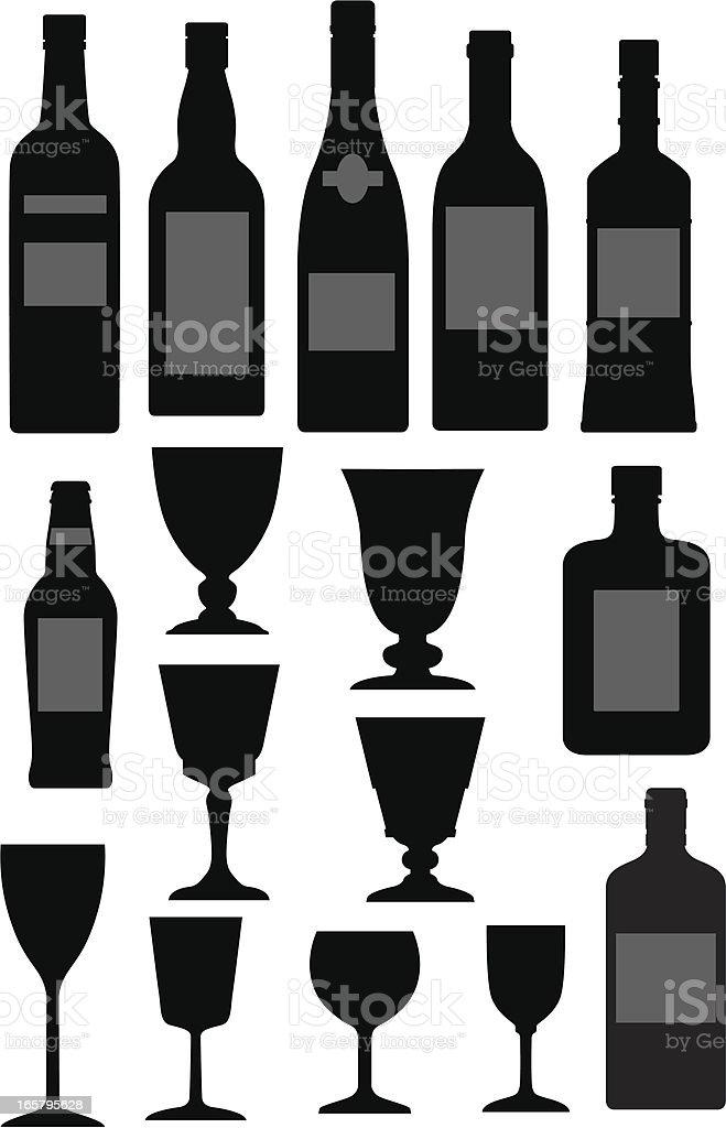 Glasses and bottles vector art illustration