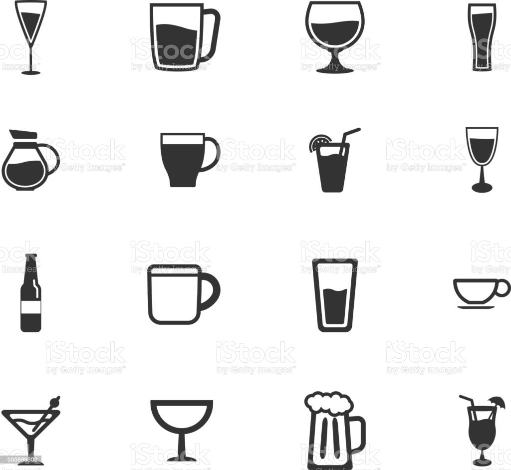 Glasses and cups simply icons vector art illustration