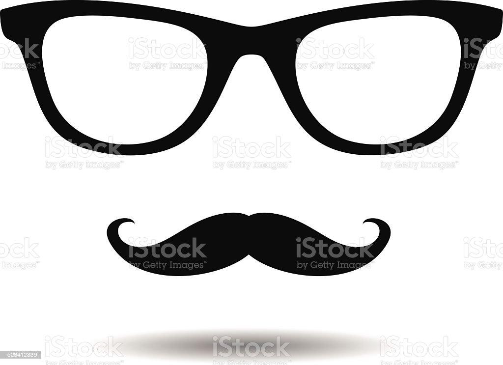 glasses and mustache vector art illustration