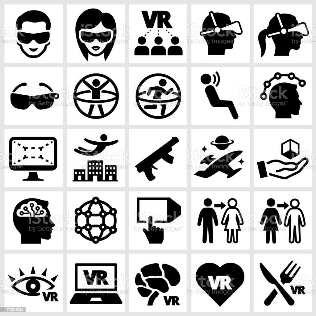 3D Glasses and Virtual Reality Experience Icon Set vector art illustration