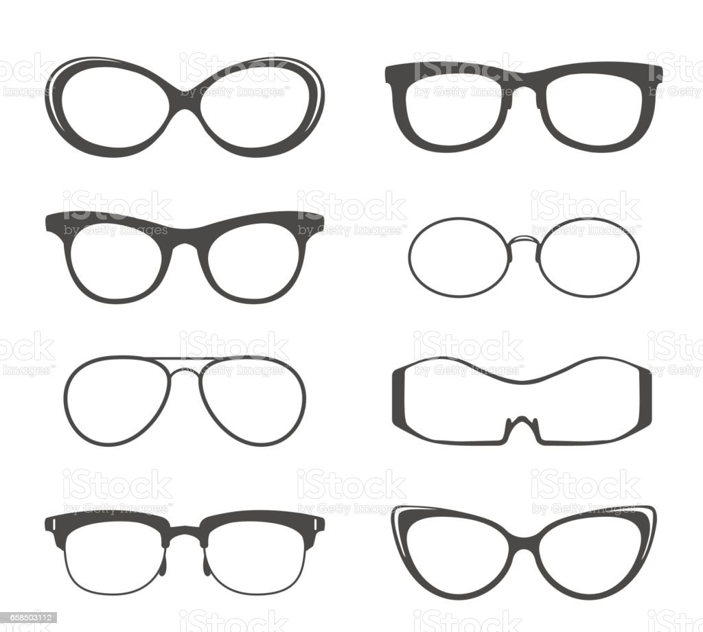 Glasses black silhouette set vector art illustration