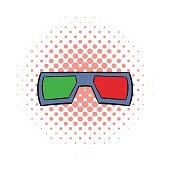 3D glasses comics icon