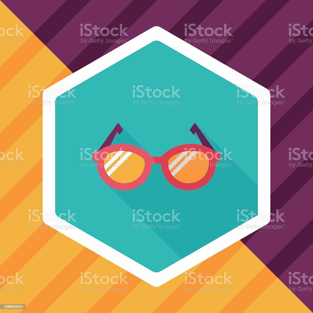 Glasses flat icon with long shadow,eps10 vector art illustration