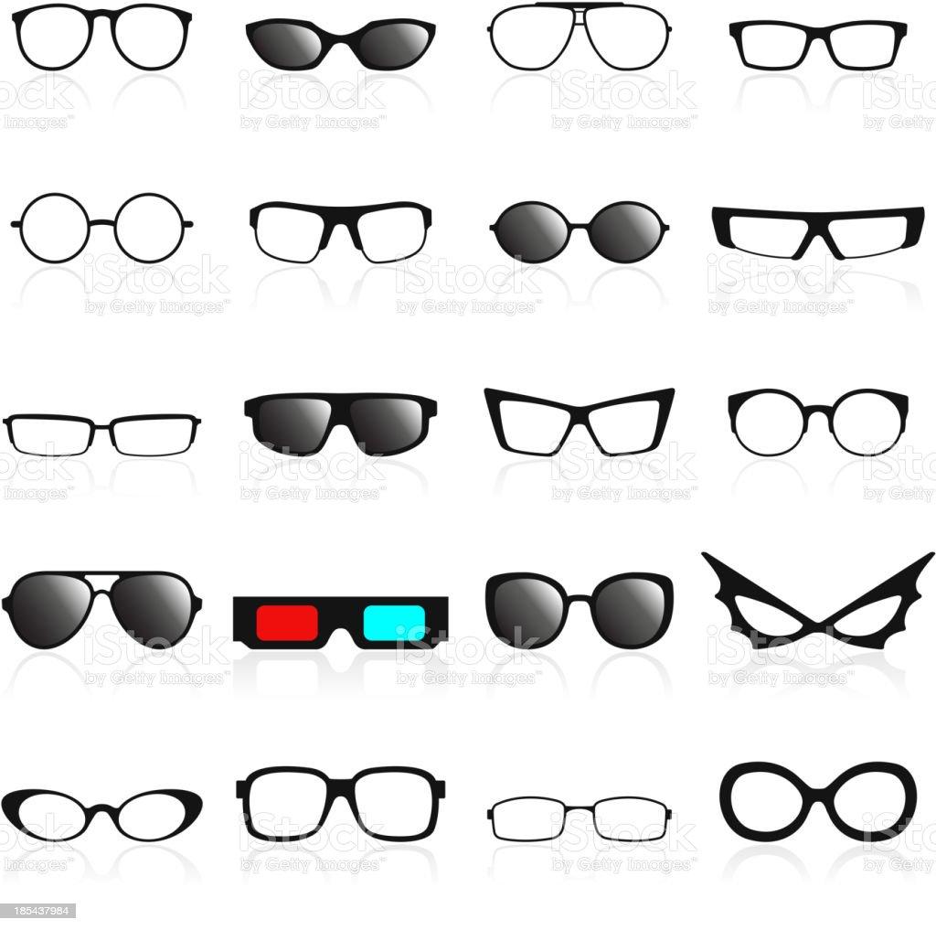 Glasses frame icons. vector art illustration