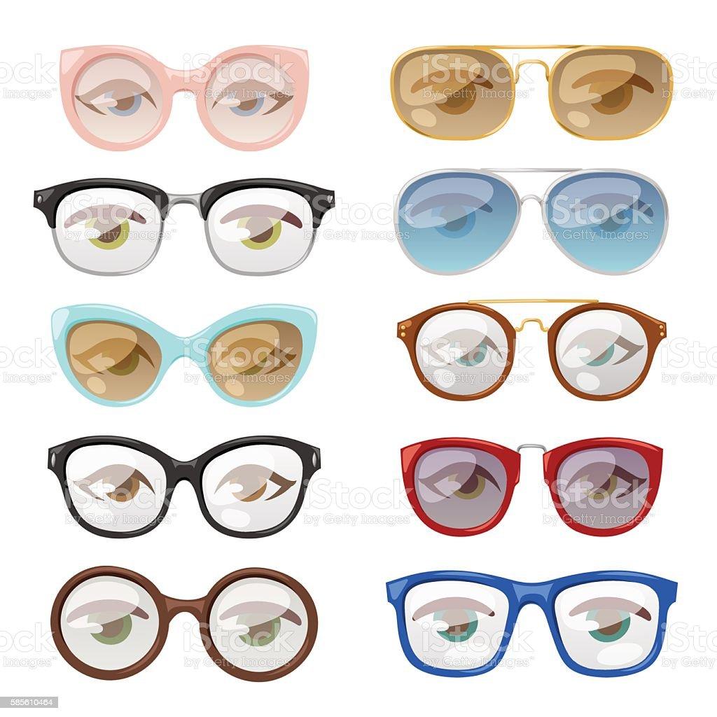 Glasses human eye vector set. vector art illustration