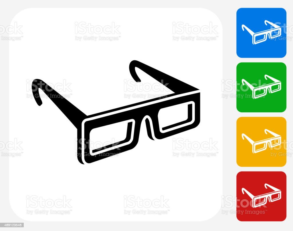 3D Glasses Icon Flat Graphic Design vector art illustration