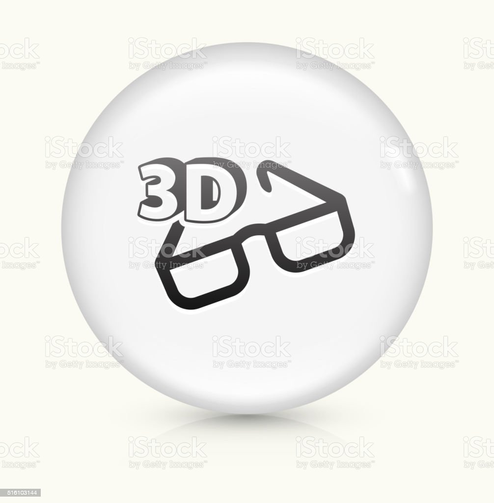 3D Glasses icon on white round vector button vector art illustration