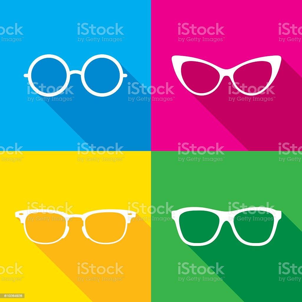 Glasses Icon Silhouettes Set vector art illustration