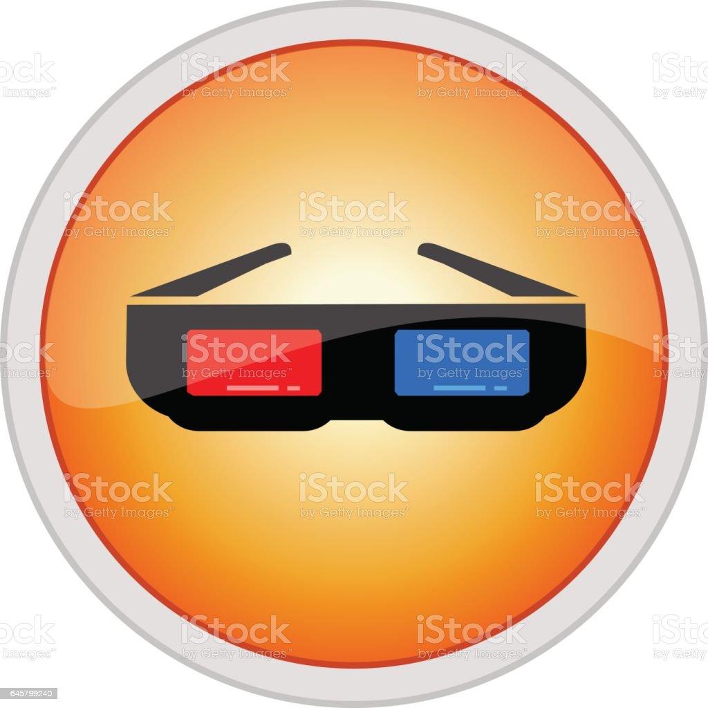 3D glasses icon vector art illustration
