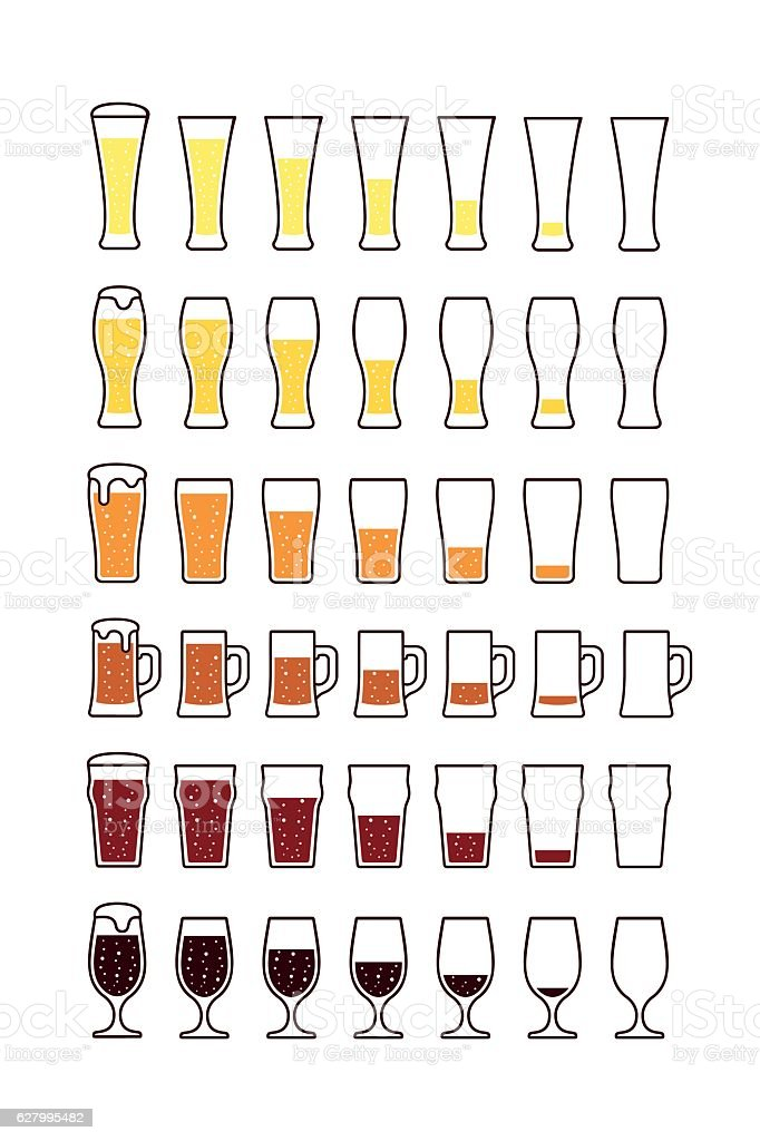 Glasses of beer with bubbles: empty, half, full. Vector vector art illustration