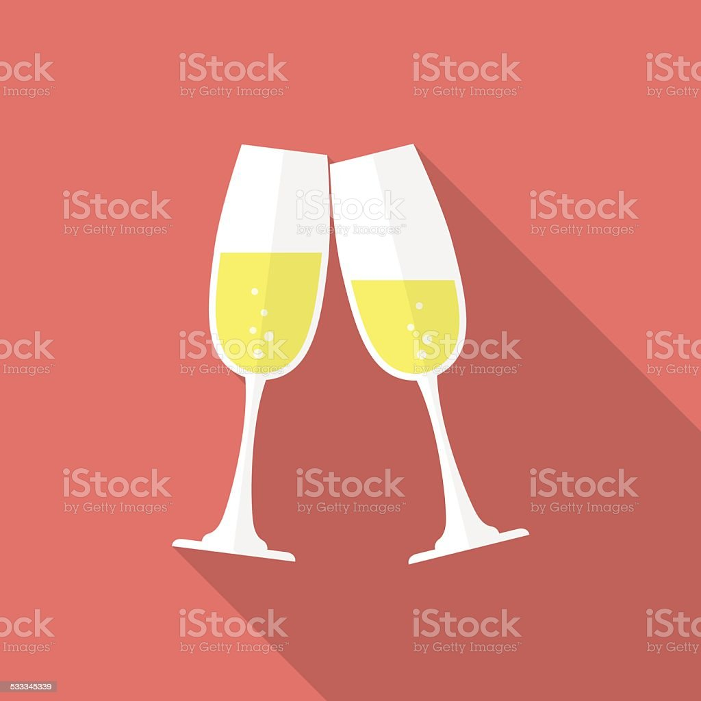 Glasses of champagne. Flat style icon vector art illustration