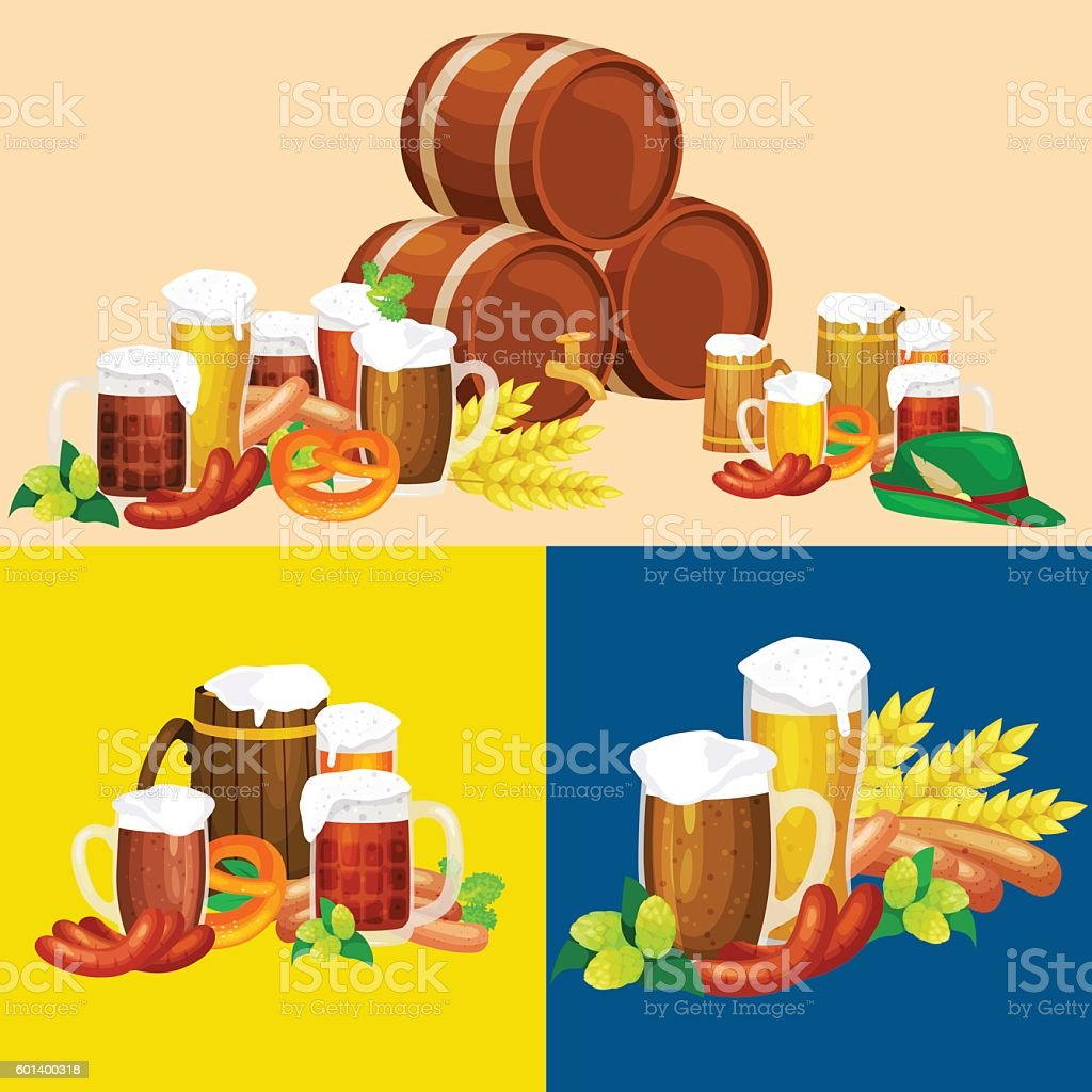 Glasses of light and dark beer with snacks on a vector art illustration